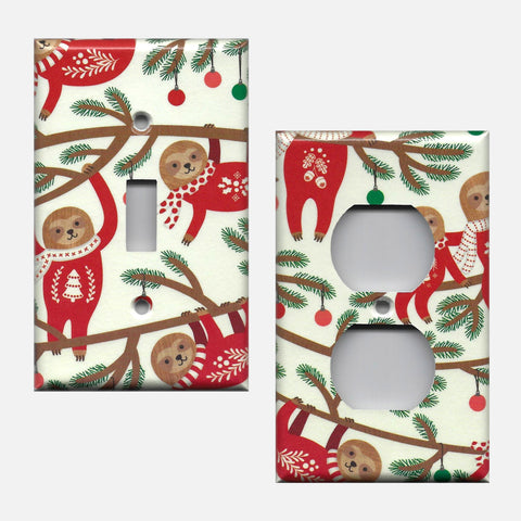 Sloths in Christmas Sweaters Light Switch Cover and Outlet Plate Covers