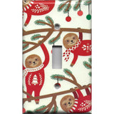 Sloths in Christmas Sweaters Single Toggle Light Switch Cover