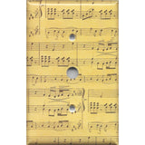 Cable Jack Cover in Classical Sheet Music Notes Antique Look Handmade- Simply Chic Gal
