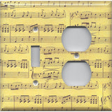 Combo Light Switch and Outlet Cover in Classical Sheet Music Notes Antique Look- Simply Chic Gal