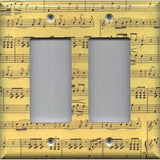 Double Rocker Decora Light Switch in Classical Sheet Music Notes Antique Look- Simply Chic Gal
