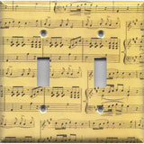 Double Toggle Light Switch in Classical Sheet Music Notes Antique Look Handmade- Simply Chic Gal