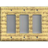 Tiple Rocker Decora Light Switch in Classical Sheet Music Notes Antique Look- Simply Chic Gal