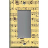 Single Rocker Decora GFI Outlet Cover in Classical Sheet Music Notes Antique Look- Simply Chic Gal