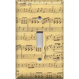 Single Light Switch Plate in Classical Sheet Music Notes Antique Look Handmade- Simply Chic Gal