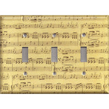 Triple Light Switch Plate in Classical Sheet Music Notes Antique Look Handmade- Simply Chic Gal