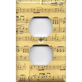 Wall Plate Outlet Cover in Classical Sheet Music Notes Antique Look Handmade- Simply Chic Gal