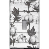 Single Toggle Light Switch Cover in Cotton Stems and Shiplap Farmhouse Decor