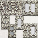 Cream and Dark Brown Floral Damask Handmade Light Switch Covers & Outlet Covers- Simply Chic Gal