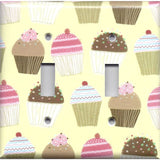 Double Toggle Light Switch Plate in Vanilla and Chocolate Cupcakes Bakery Decor