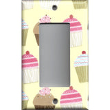 Single Rocker Decora GFI Outlet Cover in Vanilla and Chocolate Cupcakes Bakery Decor