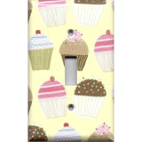 Single Toggle Light Switch Cover in Vanilla and Chocolate Cupcakes Bakery Decor