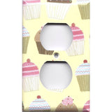 Wall Outlet Plate Cover in Vanilla and Chocolate Cupcakes Bakery Decor