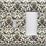 Combo Light Switch and Rocker GFI Outlet Cover in Cream and Dark Brown Floral Damask Handmade