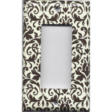 Single Rocker Decora GFI Outlet Cover in Cream and Dark Brown Floral Damask- Simply Chic Gal