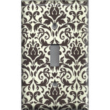 Single Toggle Light Switch Cover in Cream and Dark Brown Floral Damask Handmade- Simply Chic Gal