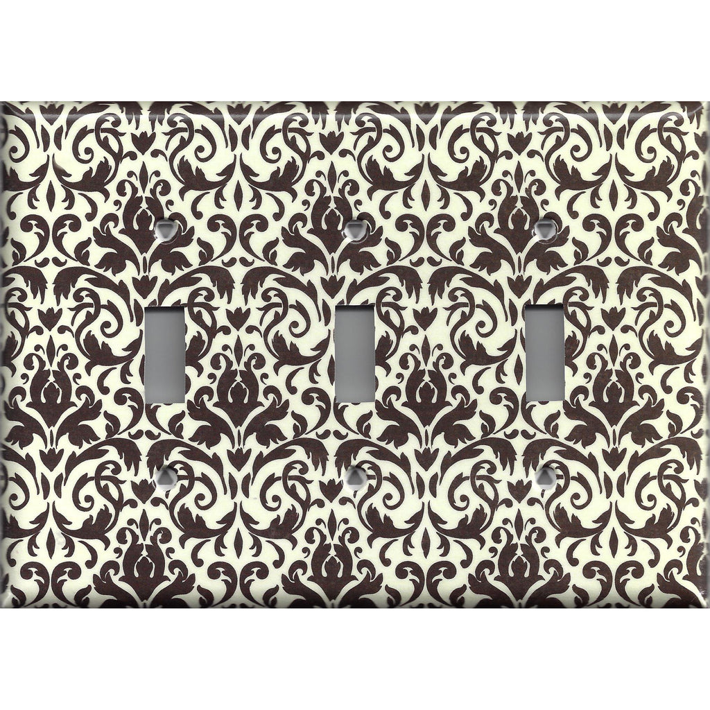 Triple Toggle Light Switch Cover in Cream and Dark Brown Floral Damask Handmade- Simply Chic Gal