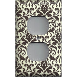Wall Outlet Cover in Cream and Dark Brown Floral Damask Handmade- Simply Chic Gal