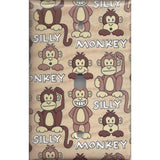 Phone Jack Cover in Cute Silly Monkeys Tan & Brown Print