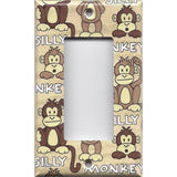 Single Rocker Decora GFI Outlet Cover in Cute Silly Monkeys Tan & Brown