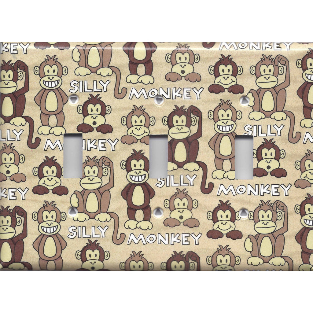 Triple Light Switch Plate in Cute Silly Monkeys Tan & Brown Print