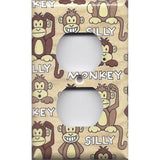 Wall Outlet Plate Cover in Cute Silly Monkeys Tan & Brown