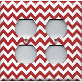 4 Plug Outlet Cover in Crimson Red Burgundy Chevron Print