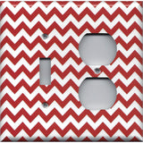Combo Light Switch and Outlet Cover in Crimson Red Burgundy Chevron Print
