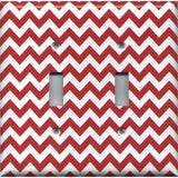 Double Toggle Light Switch Cover in Crimson Red Burgundy Chevron Print