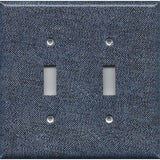 Double Toggle Light Switch Cover in Dark Denim Blue Jean Look Navy Blue Handmade- Simply Chic Gal