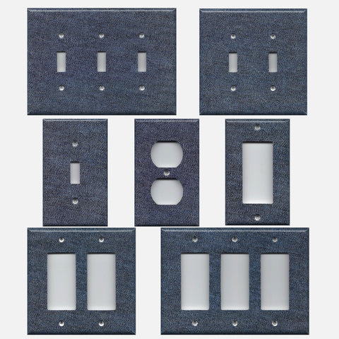 Dark Denim Blue Jean Navy Blue Light Switch Plates & Outlet Covers