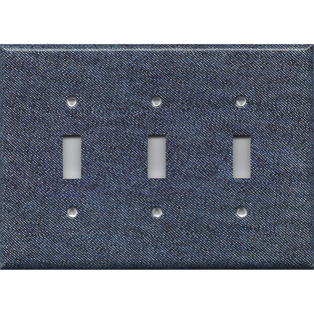 Triple Toggle Light Switch Cover in Dark Denim Blue Jean Look Navy Blue Handmade- Simply Chic Gal