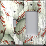 Distressed Rustic Baseballs Light Switchplates and Outlet Covers