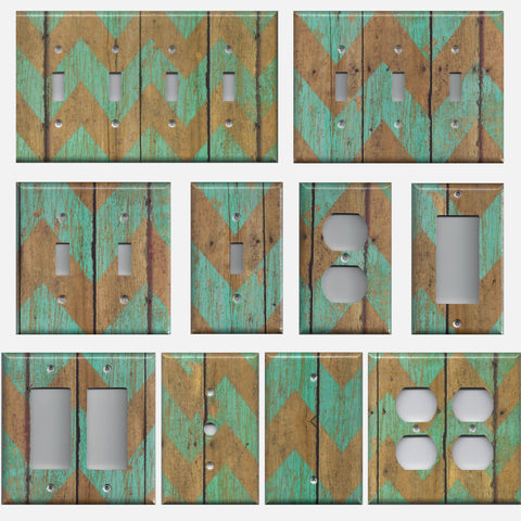 Distressed Barnwood Look Turquoise Blue Chevron Light Switchplates Outlet Covers