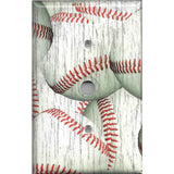 Cable Jack Cover inDistressed Rustic Baseball Decor