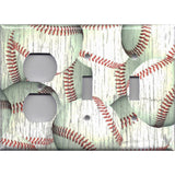 Combo 2 Toggle Light Switches and Outlet in Distressed Rustic Baseball Decor