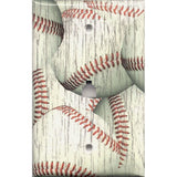 Phone Jack Cover in Distressed Rustic Baseball Decor