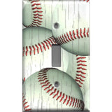 Single Toggle Light Switch Cover in Distressed Rustic Baseball Decor