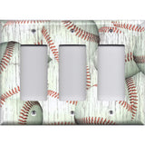Triple Rocker Decora Light Switch Cover in Distressed Rustic Baseball Decor