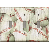 Triple Toggle Light Switch Cover in Distressed Rustic Baseball Decor