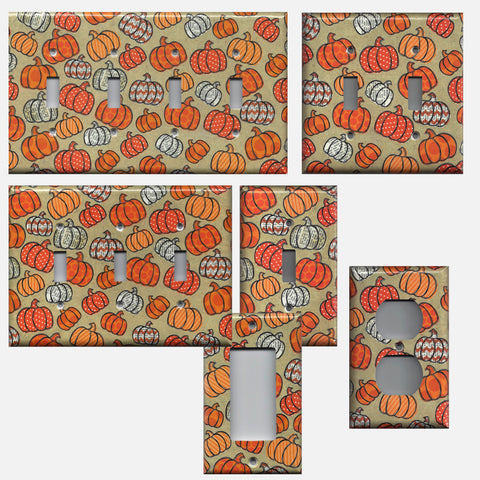Fall Pumpkins in Chevron & Polka Dots Light Switch and Outlet Covers