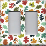 Double Rocker Decora Light Switch Cover in Fall Leaves in Warm Autumn Colors