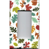 Single Rocker Decora GFI Outlet Cover in Fall Leaves in Warm Autumn Colors