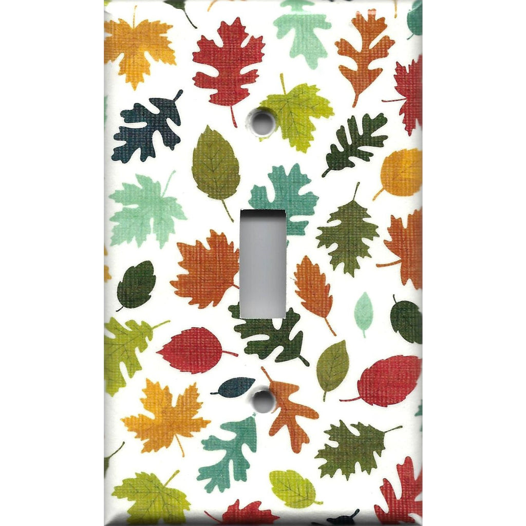 Single Light Switch Plate Cover in Fall Leaves Handmade Autumn Decor- Simply Chic Gal