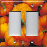 Double Rocker Decora Light Switch Cover in Rustic Fall Pumpkin Decor