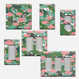 Pink Flamingo Palm Leaf Botanical Print Light Switch Plates & Outlet Covers