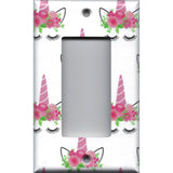 Single Rocker Decora GFI Outlet Cover in Pink Unicorn Horn & Flower Crown Girls Bedroom Decor
