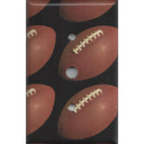 Cable Jack Cover with Footballs on Black Background Man Cave - Handmade by Simply Chic Gal