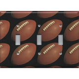 Triple Light Switch Cover with Footballs on Black Background Man Cave - Handmade by Simply Chic Gal