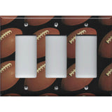 Triple Rocker Decora Cover with Footballs on Black Background Man Cave - Handmade by Simply Chic Gal